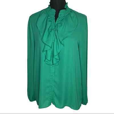 Who What Wear Green Ruffle Long Sleeve Size Medium
