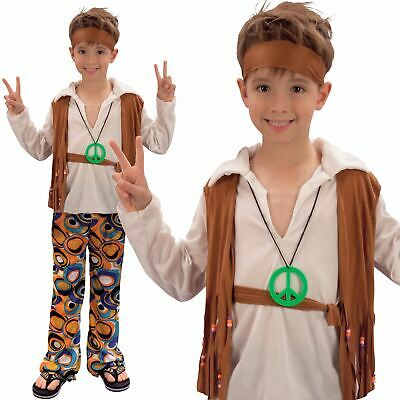 Kids Boys 60s 70s Groovy Hippy Hippie Disco Fancy Dress Costume Outfit - 70s Costumes