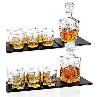 BORMIOLI ROCCO Whisky Décanteur & 6 VERRES GOBELETS BOITE DE CADEAU SET