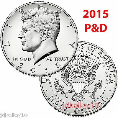 2015 KENNEDY HALF DOLLARS P&D 2 COIN SET - UNCIRCULATED COINS FROM US MINT