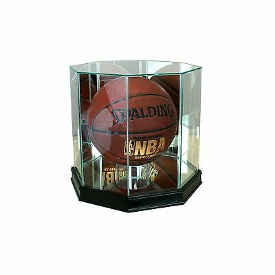 New Real Glass Octagon Basketball Display Case Black Sport Molding UV FREE SHIP