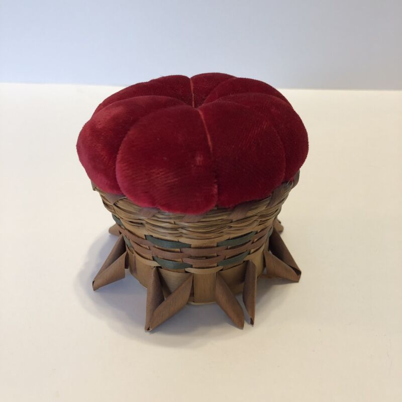 "Antique Victorian Red Velvet Pin Cushion Woven Reed Grass Footed Basket 3""x3"""