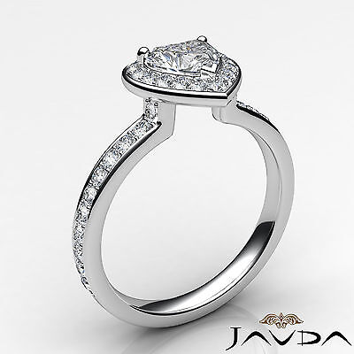 Halo Pave Set Heart Cut Diamond Engagement Cathedral Ring GIA G Color VS1 0.95Ct 1