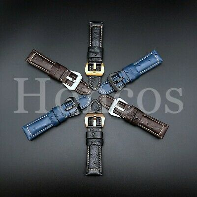22 24MM Ostrich Black Brown Leather Watch Band Strap Clasp fits for Panerai Sub -