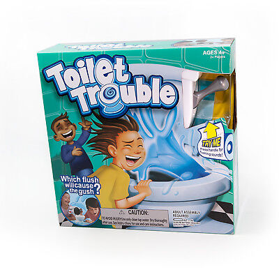 Toilet Trouble Game With Flush To Cause The Gush Sound Effects Toy
