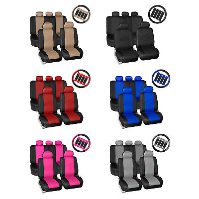 - Synthetic Leather Seat Covers Car Suv Auto w/ Steering Wheel Belt Pads 6 Colors