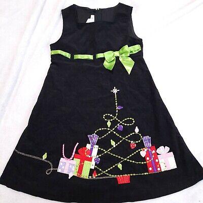 Bonnie Jean Christmas Girls Jumper dress 6x applique presents Black corduroy