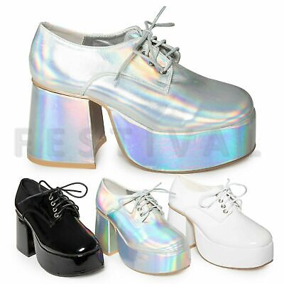 Saturday Night Fever Shoes (Mens Womens Platform Disco Saturday Night Fever John Travolta Fancy Dress Shoes)