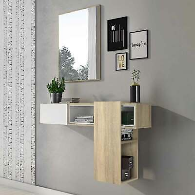 Mobile ingresso MORRISON Gihome ® bianco rovere sospeso moderno specchio design