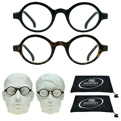 2 PAIRS Small Round Plastic Retro Reading Glasses Full Lens Readers 1.0 to 3.0 ()