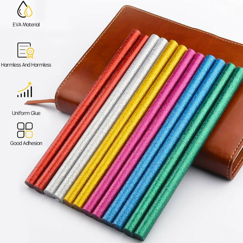 180/360PCs Mini Colorful Glitter Hot Glue Sticks 0.28 x 4 in for DIY Art Craft