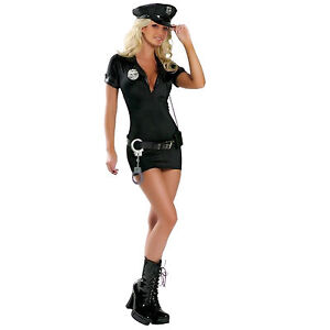 Sexy Police Women Officer Cop Uniform Fancy Dress Complete Outfit M
