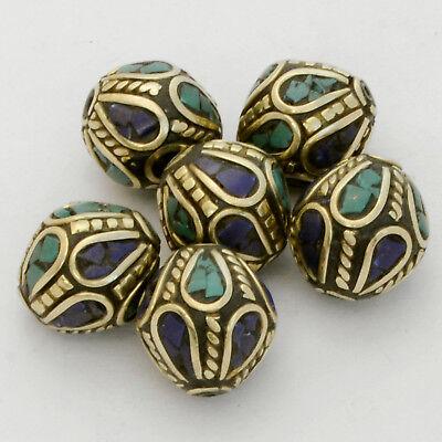 Turquoise Lapis Brass 6 Beads Nepalese Tibetan Handmade Tibet Nepal UB2467A