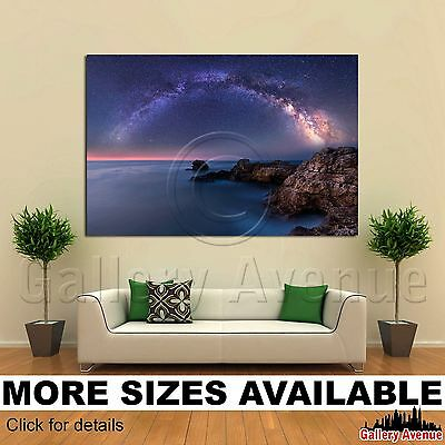 Wall Art Canvas Picture Print   Night Milky Way Galaxy Black Sea 3 2