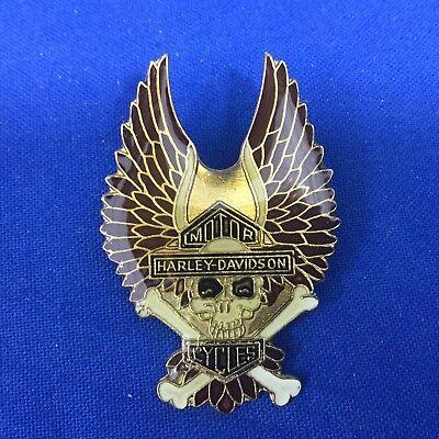 Harley Davidson Motor Cycles Wings With Skull & Bones Pin FREE SHIPPING # 108
