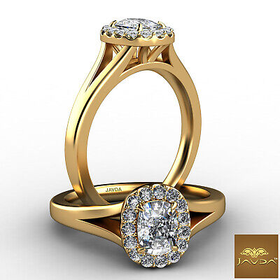 Solitaire Halo Cushion Diamond Engagement French Setting Ring GIA H VS1 0.7 Ct