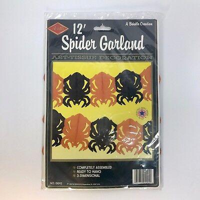 Beistle Garland Spiders Art Tissue Halloween Decorations 1989 Black Orange 12ft](Halloween Decorations Spiders)