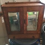 Vintage Oak Medicine Chest Cabinet With Mirror