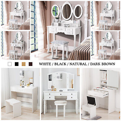 Wood Vanity Makeup Dressing Table Set w/Stool ,Jewelry Drawer,Mirror Desk](Mirror Table)
