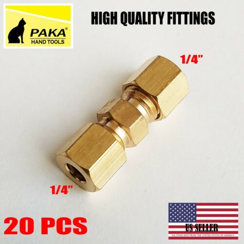 "20 PC – 1/4"" ( 6 mm ) UNION COMPRESSION FITTINGS BRASS"