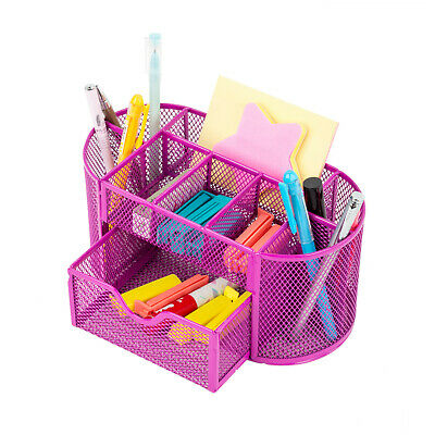 Desk Office Table Organizer Supplies Metal Mesh Pen Pencil Holder Storage Pink