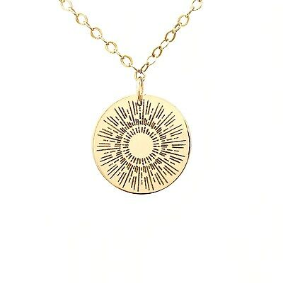 SUNBURST ENGRAVED Gold Fill Disc Necklace also in Rose Gold and Silver