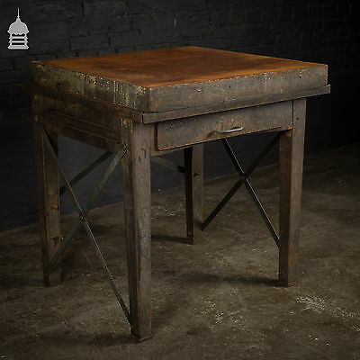 Vintage Industrial Surface Table with Thick Steel Top and Drawer