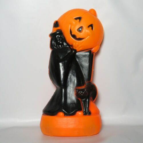 Vtg Witch Holding Pumpkin JOL Halloween Blow Mold Light Decoration AS IS