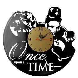 NEW  Vinyl Record Wall Clock Once upon a time #2, modern decorative art ~ 12