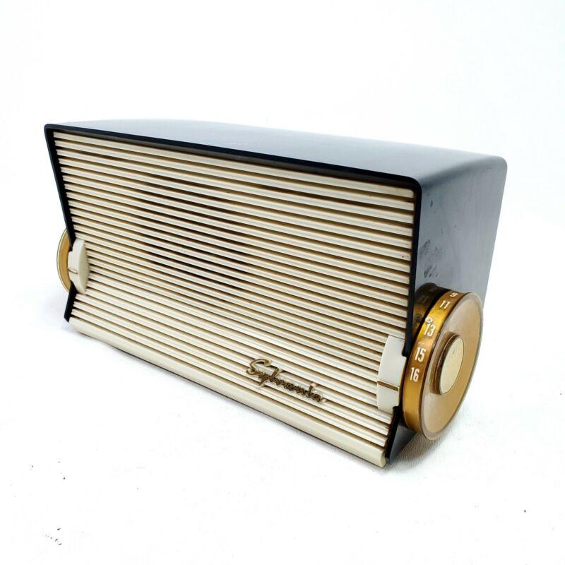 Vintage Sylvania Table Tube Radio Black 519 Mid Century Modern AM MCM Works