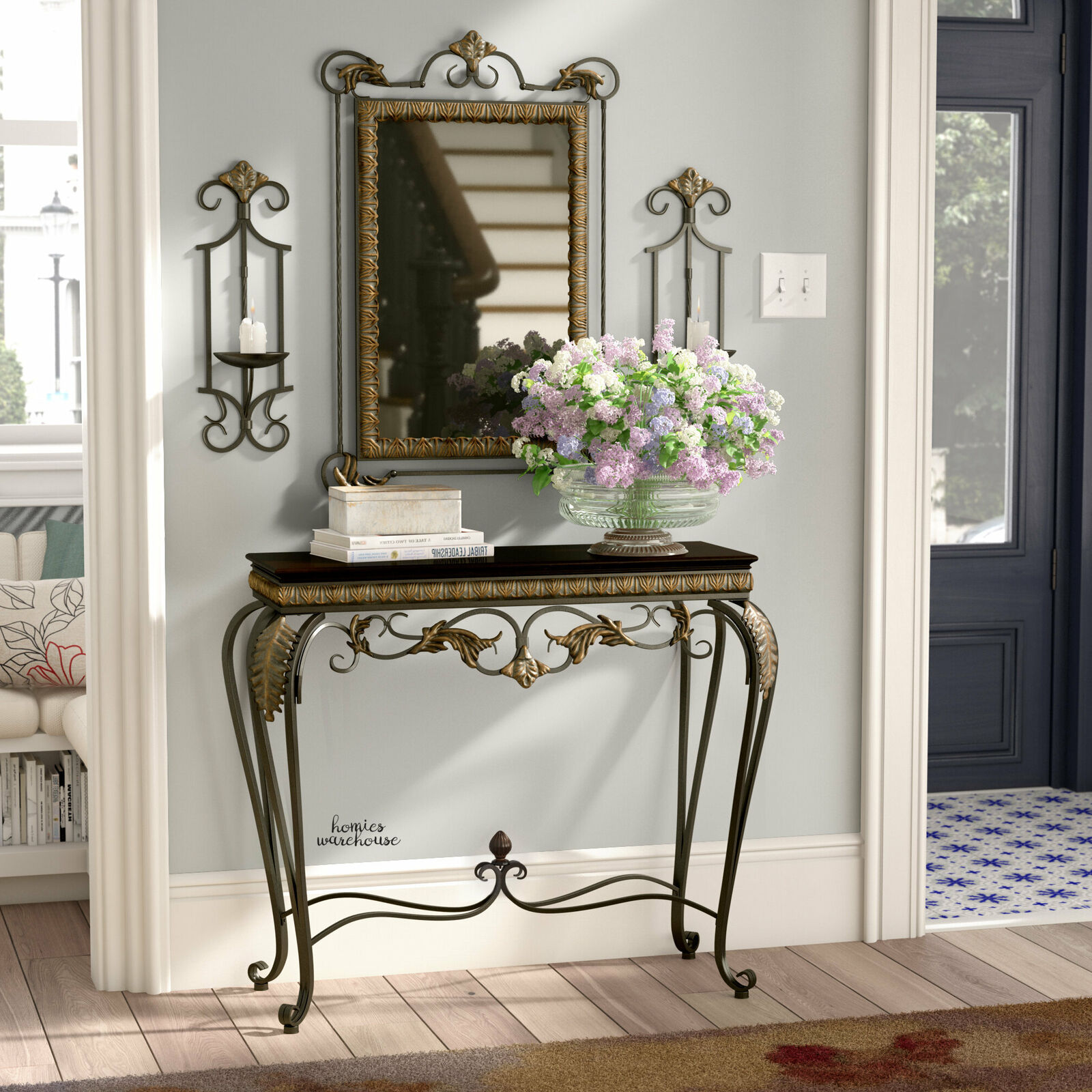 Console Table Wall Mirror Candle Sconces Set 4 Pcs Scroll Ir