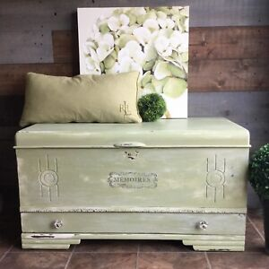 Weathered hope chest with crystal knobs