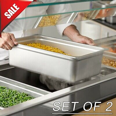 Set Of 2 Full Size 6 Deep Silver Anti-jam Stainless Steel Hotel Steam Table Pan