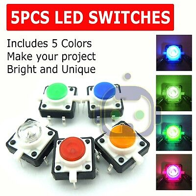 5x Led Light Tactile Push Button Switch Momentary Cap Assorted Kit Arduino