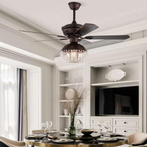 52 Rustic Crystal Ceiling Fan Chandelier Fandelier Wood Blades Bedroom Lighting Ebay