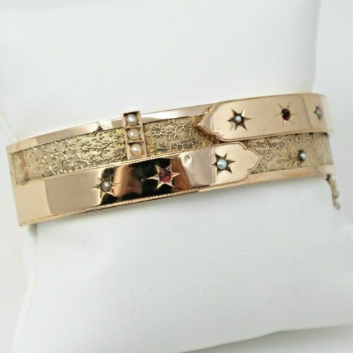 """12 kt Rose Gold Late Victorian Seed Pearl Hinged Bangle Bracelet 7"""" A7487"""
