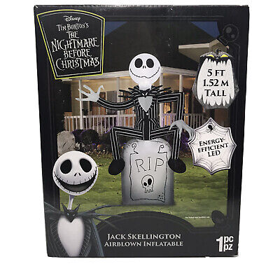 Inflatable Jack Skellington On Tombstone Halloween Props Outdoor Yard Decor 5 Ft