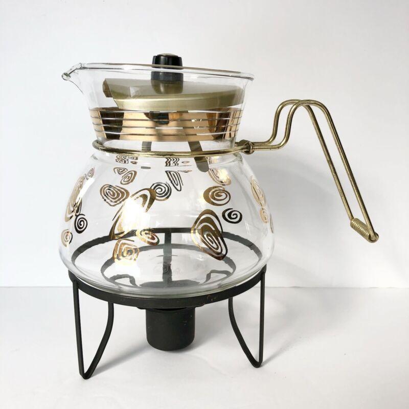 Vintage Flameproof Jet-O-Matic Coffee Pot / Warmer Mid Century Atomic Swirls