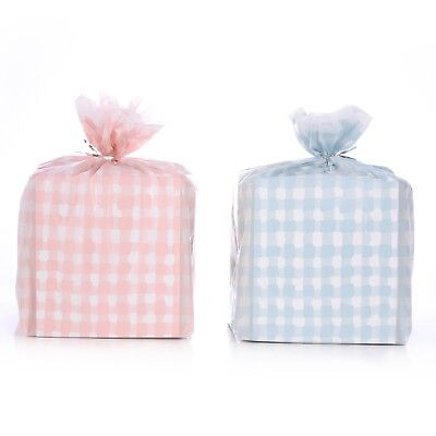 Reusable Baby Gingham Plastic Gift Wrap Bags W/Twist Ties 2 Pink + 2 Blue 21x24](Plastic Gift Wrap)