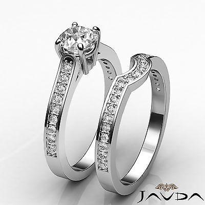 4 Prong Round Diamond Engagement Bridal Set Wedding Ring GIA I Color SI1 1.55Ct