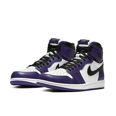 Nike Mens Air Jordan 1 Retro High OG I AJ1 Court Purple White Black 555088-500