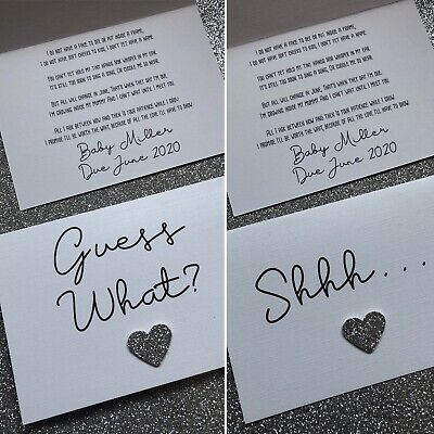 Personalised Shhh/Guess What - Pregnancy Announcement Poem Card + Envelope