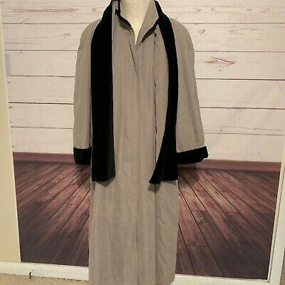 Anne Klein II Rainwear Trench Coat Removable Lining Tan Black Size 6 Scarf long