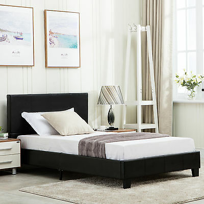 Twin Size Platform Bed Frame Faux Upholstered Headboard Bedroom Furniture