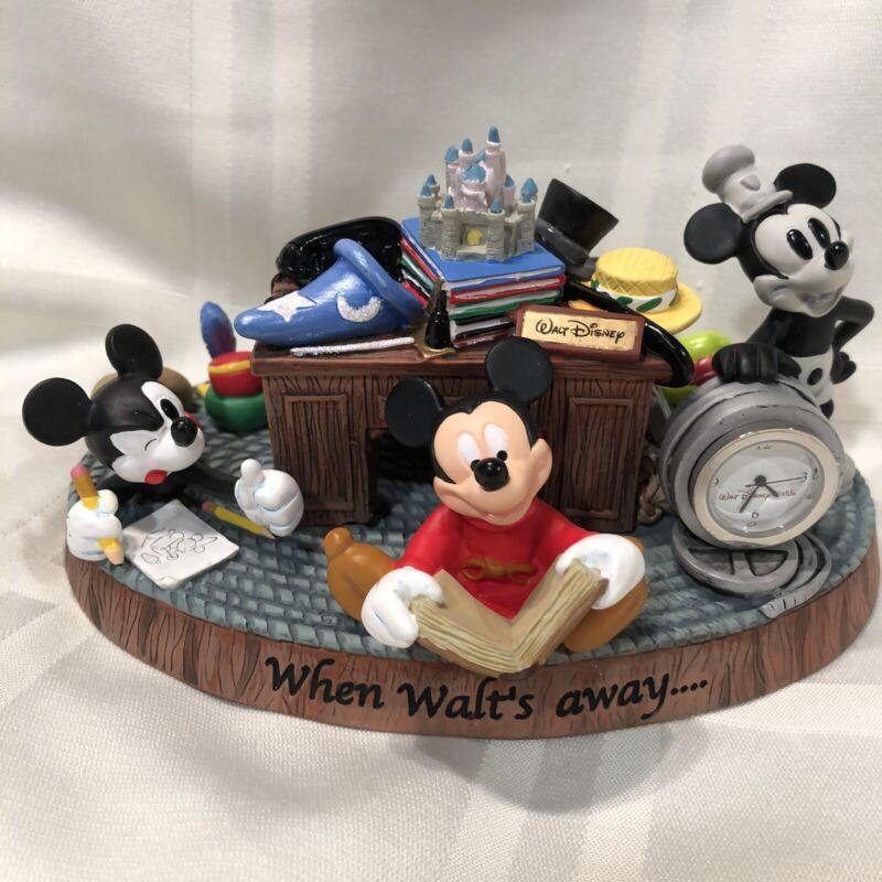 """Disney Mickey """"When Walt's Away..,"""" Desk Top Clock In Foam Secured Box. Used"""