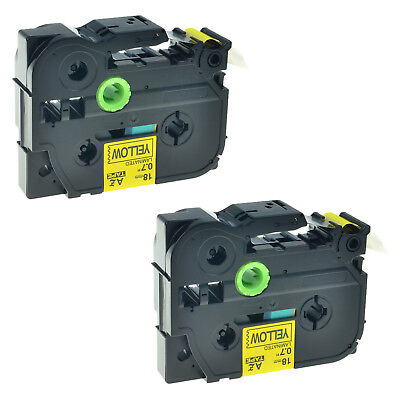 2 Pk Tz-641 Tze-641 34 Black On Yellow Label Tape For Brother P-touch Pt2200