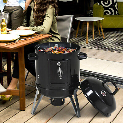 Outsunny Charcoal Smoker Grill Metal Outdoor BBQ Smoking w/ Thermometer - Black