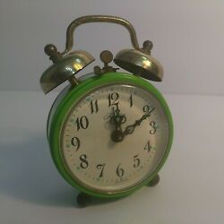 Green Small Retro Alarm Clock Wind-up Mechanic Bell Loud Ticking Travel Vintage