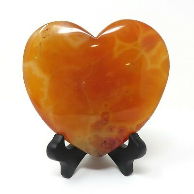697g LARGE Red Agate Stone Heart 5 x 5.25 inches - Has Flaws - Stand Included