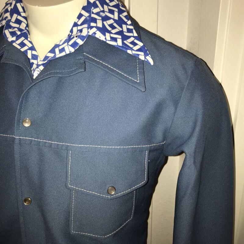 Vtg 60s 70s Blue LEISURE SUIT Jacket MENS 44 Western Coat Blazer POLYESTER Disco